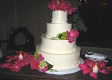 Wedding colors theme cake with pink flowers