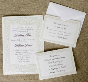 Wedding invitations in a frame