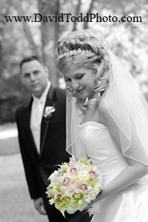 Wedding Photography Techniques Black and White Photo with colored floral bouquet,